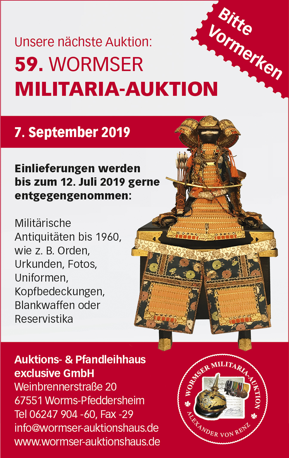 59. Wormser Militaria-Auktion findet am 7. September 2019 statt